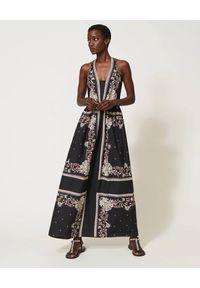 TwinSet - TWINSET - Bawełniana maxi sukienka w print. Okazja: na imprezę. Kolor: czarny. Materiał: bawełna. Wzór: nadruk. Sezon: lato. Styl: elegancki. Długość: maxi