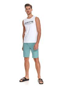 TOP SECRET - T-shirt bez rękawów z nadrukiem. Kolor: biały. Materiał: bawełna, tkanina. Długość rękawa: bez rękawów. Wzór: nadruk. Sezon: lato. Styl: wakacyjny, klasyczny