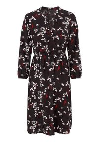 Czarna sukienka Happy Holly kopertowa, z długim rękawem, z dekoltem w serek