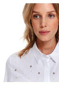 Biała koszula TOP SECRET z aplikacjami, elegancka