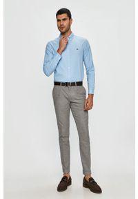 Niebieska koszula Lacoste długa, na co dzień, z aplikacjami, casualowa