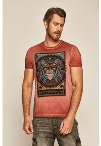 Brązowy t-shirt medicine z nadrukiem, na co dzień