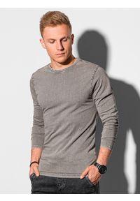 Ombre Clothing - Longsleeve męski bez nadruku L131 - jasnobrązowy - XXL. Kolor: brązowy. Materiał: bawełna. Długość rękawa: długi rękaw