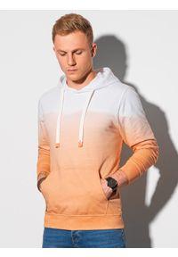 Ombre Clothing - Bluza męska z kapturem B1174 - jasnopomarańczowa - XXL. Typ kołnierza: kaptur. Kolor: pomarańczowy. Materiał: bawełna