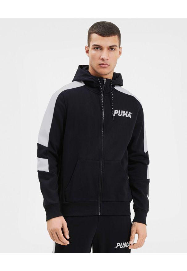 Czarna bluza Puma długa, z kapturem, w kolorowe wzory