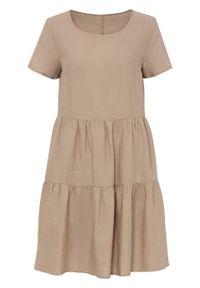 Sukienka TENCEL™ Lyocell z lnem bonprix piaskowy. Kolor: beżowy. Materiał: len, lyocell