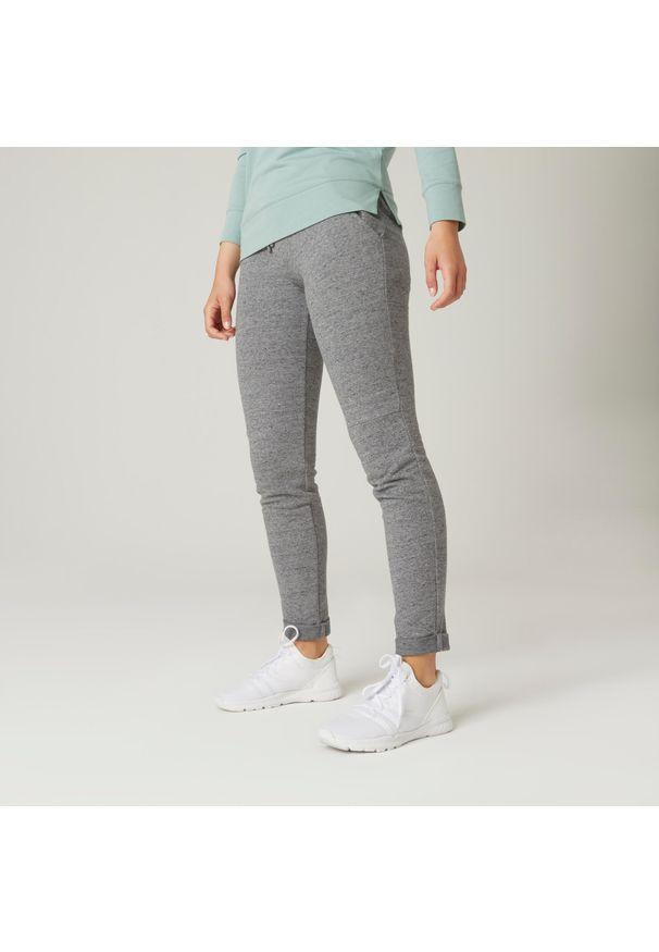 NYAMBA - Spodnie dresowe fitness. Kolor: szary. Materiał: poliester, elastan, bawełna, materiał. Sport: fitness