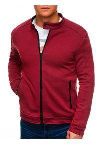 Ombre Clothing - Bluza męska rozpinana bez kaptura C453 - czerwona - XL. Typ kołnierza: bez kaptura. Kolor: czerwony. Materiał: bawełna, żakard, poliester