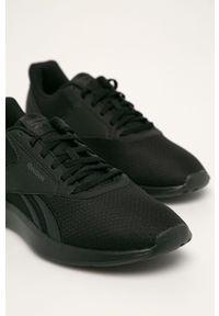 Czarne buty sportowe Reebok z okrągłym noskiem, z cholewką, na sznurówki