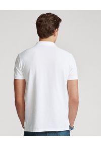 Ralph Lauren - RALPH LAUREN - Koszulka Custom Slim Fit. Typ kołnierza: polo. Kolor: biały. Materiał: bawełna, jeans, prążkowany. Wzór: haft, aplikacja. Sezon: lato, zima. Styl: klasyczny