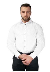 Biała elegancka koszula Atleto z klasycznym kołnierzykiem, długa, z długim rękawem