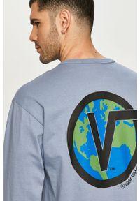 Niebieska koszulka z długim rękawem Vans casualowa, z nadrukiem