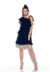 Lemoniade - Granatowa Zwiewna Sukienka Wiązana na Jedno Ramię. Kolor: niebieski. Materiał: wiskoza, elastan