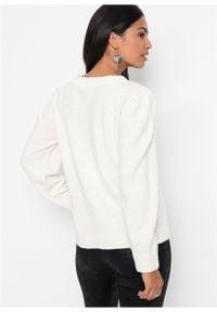 Sweter rozpinany z rękawami balonowymi bonprix biel wełny. Typ kołnierza: dekolt w serek. Kolor: biały. Materiał: wełna