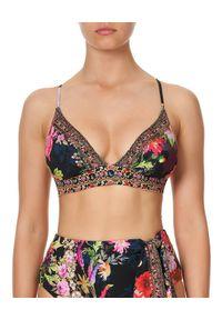 Camilla - CAMILLA - Top od bikini z kryształami Hampton Hive. Kolor: czarny. Materiał: tkanina, nylon. Wzór: aplikacja, nadruk