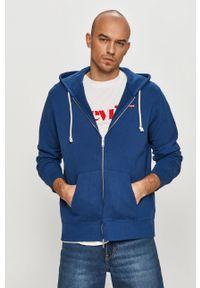 Niebieska bluza rozpinana Levi's® casualowa, z kapturem, na spotkanie biznesowe