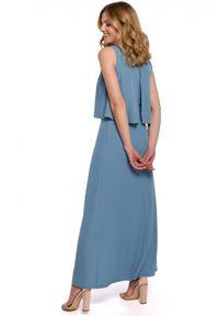 Makover - Długa zmysłowa sukienka z falbaną i rozcięciem. Materiał: tkanina, elastan. Długość rękawa: na ramiączkach. Długość: maxi