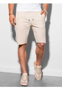 Ombre Clothing - Krótkie spodenki męskie dresowe W299 - białe - XXL. Kolor: biały. Materiał: dresówka. Długość: krótkie