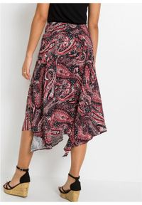 Spódnica z asymetryczną linią dołu bonprix czarno-malinowy paisley. Kolor: czarny. Długość: długie. Wzór: paisley #3