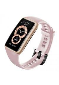 HUAWEI - Opaska sportowa Huawei Band 6 różowy. Rodzaj zegarka: cyfrowe. Kolor: różowy. Materiał: włókno. Styl: sportowy