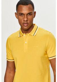 Żółta koszulka polo Geox gładkie, krótka, casualowa, polo