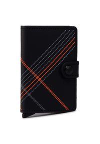 Secrid - Mały Portfel Męski SECRID - Miniwallet MSt Stitch Linea Orange. Kolor: czarny. Materiał: skóra