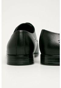 Czarne półbuty Wojas z okrągłym noskiem, na sznurówki, eleganckie