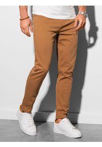 Ombre Clothing - Spodnie męskie chino P990 - camel - XXL. Materiał: bawełna, elastan