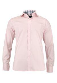 Różowa elegancka koszula Chiao długa, do pracy, z aplikacjami