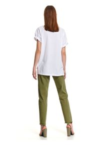 Biały t-shirt TOP SECRET z nadrukiem, na wiosnę, długi