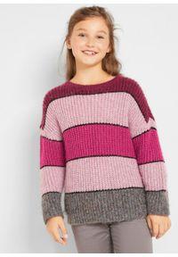 Fioletowy sweter bonprix w paski, na zimę