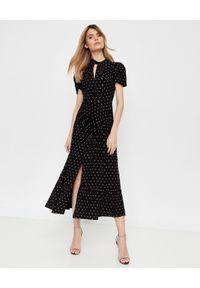 SELF PORTRAIT - Czarna sukienka midi z diamentami. Kolor: czarny. Wzór: aplikacja. Typ sukienki: rozkloszowane. Styl: klasyczny, elegancki. Długość: midi