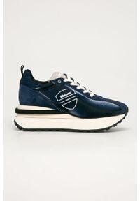 Niebieskie buty sportowe Blauer z cholewką, na średnim obcasie, z okrągłym noskiem, na koturnie