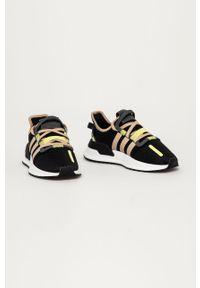 Czarne buty sportowe adidas Originals z cholewką, z okrągłym noskiem, do biegania, na sznurówki