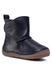 Niebieskie buty zimowe Froddo z cholewką przed kolano, z cholewką
