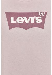 Fioletowy t-shirt Levi's® z nadrukiem, biznesowy, na co dzień