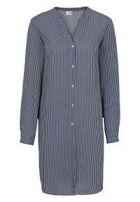 Długa bluzka bonprix biel wełny - ciemnoniebieski w paski. Kolor: biały. Materiał: wełna. Długość rękawa: długi rękaw. Długość: długie. Wzór: paski