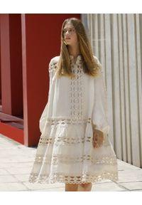Devotion Twins - Bawełniana sukienka z koronkowymi wstawkami Devotion. Kolor: beżowy. Materiał: bawełna, koronka. Wzór: koronka