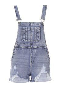 Born2be - Jasnoniebieskie Szorty Ogrodniczki Thanossia. Kolor: niebieski. Materiał: bawełna, materiał, jeans. Długość: krótkie. Wzór: aplikacja