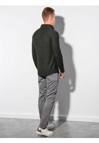 Ombre Clothing - Bluza męska bez kaptura B1222 - khaki - XXL. Typ kołnierza: bez kaptura. Kolor: brązowy. Materiał: poliester, elastan, akryl #3