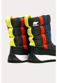 Szare buty zimowe sorel na zimę, z cholewką, z okrągłym noskiem