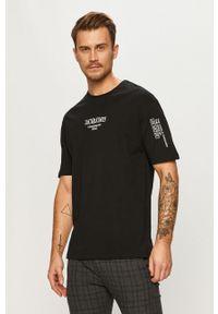 Czarny t-shirt Jack & Jones z nadrukiem, na co dzień, casualowy
