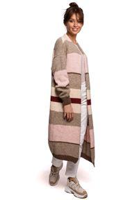 Sweter w kolorowe wzory, długi, z długim rękawem