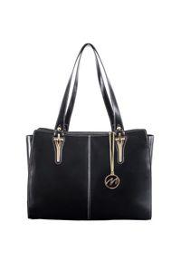 MCKLEIN - Ekskluzywna skórzana torebka damska czarna Mcklein Glenna 97545. Kolor: czarny. Wzór: paisley. Materiał: skórzane. Styl: wizytowy, klasyczny, elegancki. Rodzaj torebki: na ramię