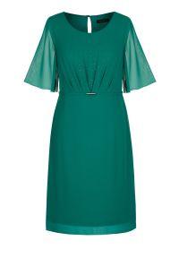 Zielona sukienka Vito Vergelis z klasycznym kołnierzykiem, w kolorowe wzory, na ślub cywilny