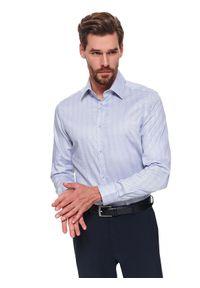 Niebieska koszula TOP SECRET długa, w kolorowe wzory, na zimę