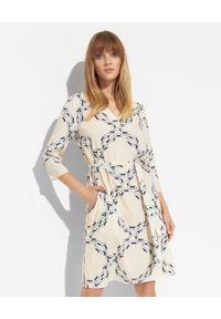 HERZEN'S ANGELENGEHEIT - Kremowa sukienka z jedwabiu. Kolor: beżowy. Materiał: jedwab. Wzór: aplikacja. Długość: mini
