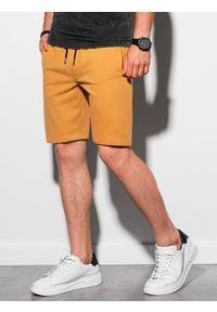 Ombre Clothing - Krótkie spodenki męskie dresowe W291 - żółte - XXL. Kolor: żółty. Materiał: dresówka. Długość: krótkie. Styl: klasyczny