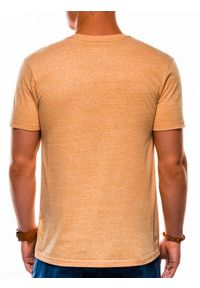 Żółty t-shirt basic Ombre Clothing