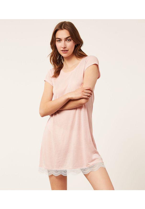 Warm Day Koszula Nocna Z Koronkowym Dołem - Xl - Pudrowy Róż - Etam. Kolor: różowy. Materiał: koronka